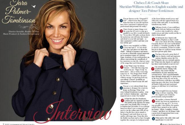 Tara Palmer-Tomkinson, SLOAN Magazine