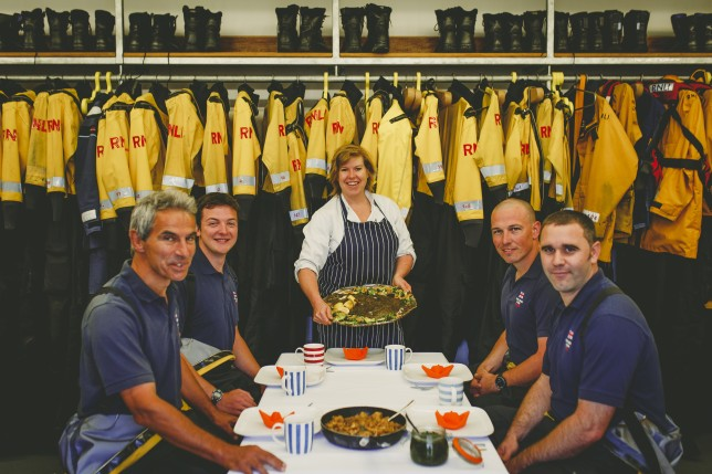Allegra McEvedy serves Fish Supper to RNLI Lifeboat Crew