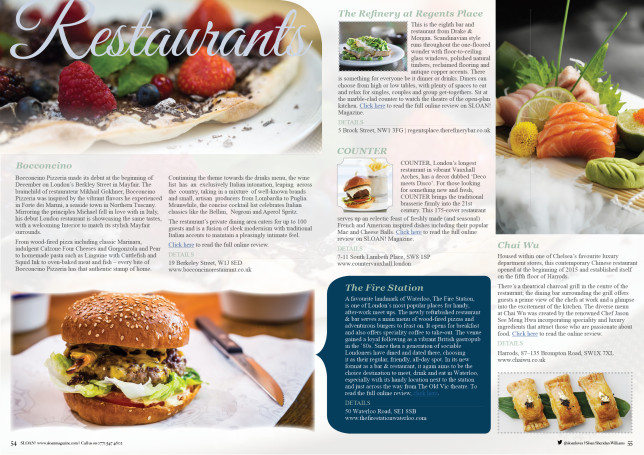 Restaurant reviews sloan magazine