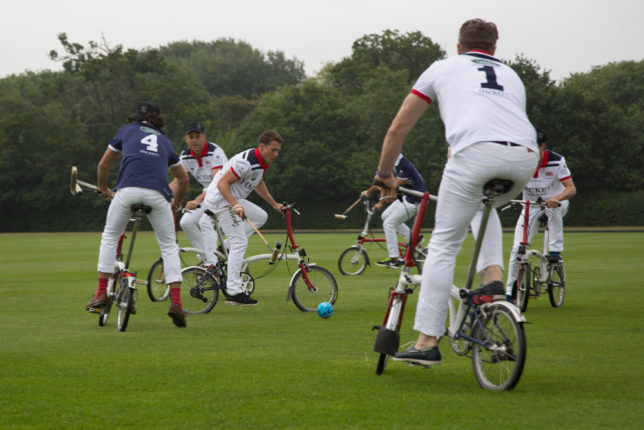Brompton bicycle polo at British Polo Day GB. Credit Sam Churchill 2