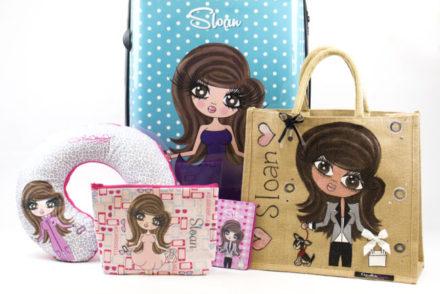 LR ClairaBella suitcase, jute bag & travel accessories Sloan Sheridan Williams