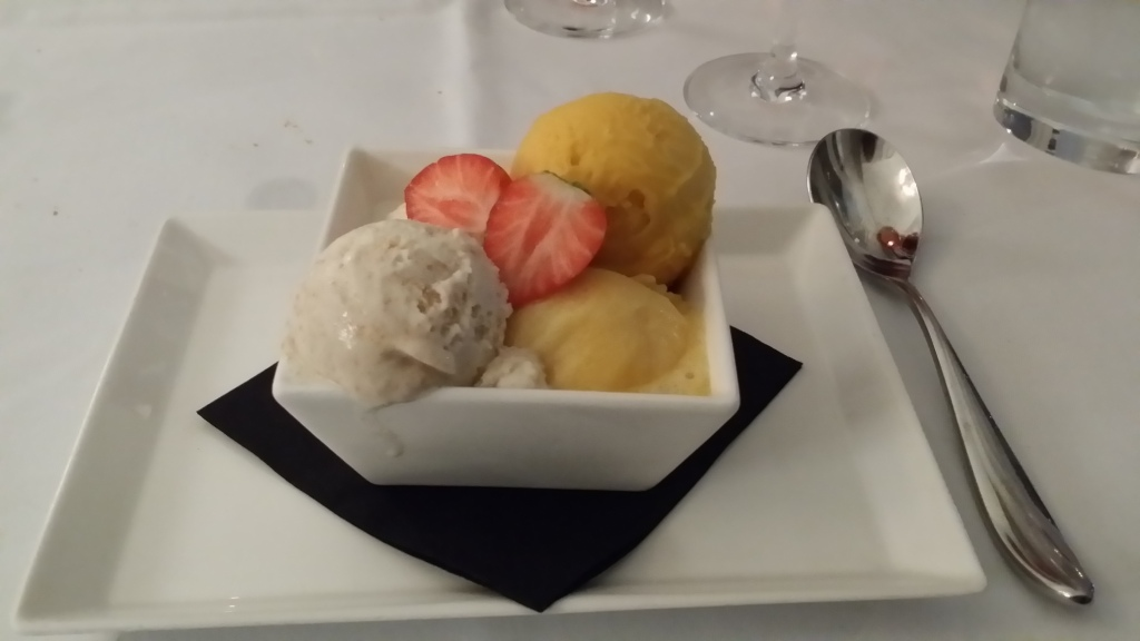 Gingerbread Ice Cream and Passion Fruit Sorbet