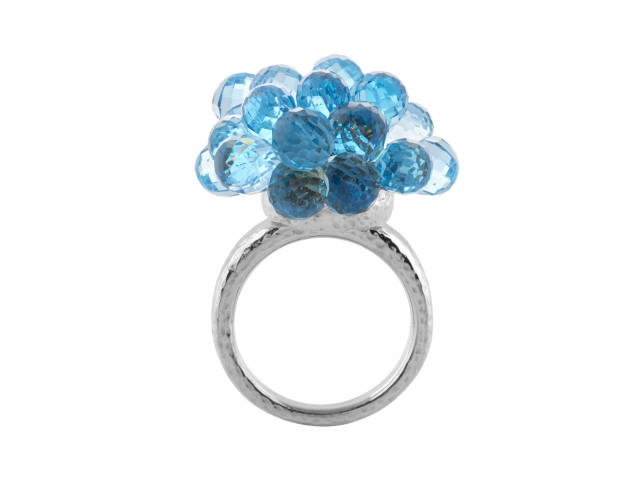biiju - Explosion cocktail ring with Swiss blue topaz & platinum band