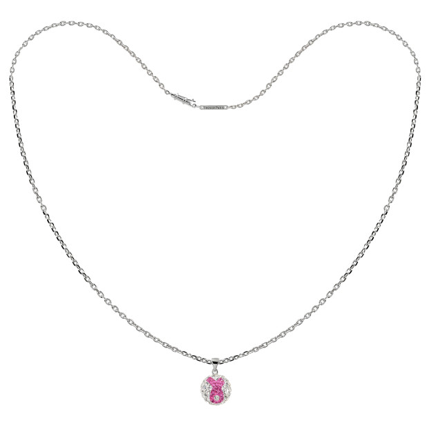 020960 £19 pink bow in white crystal sphere necklace