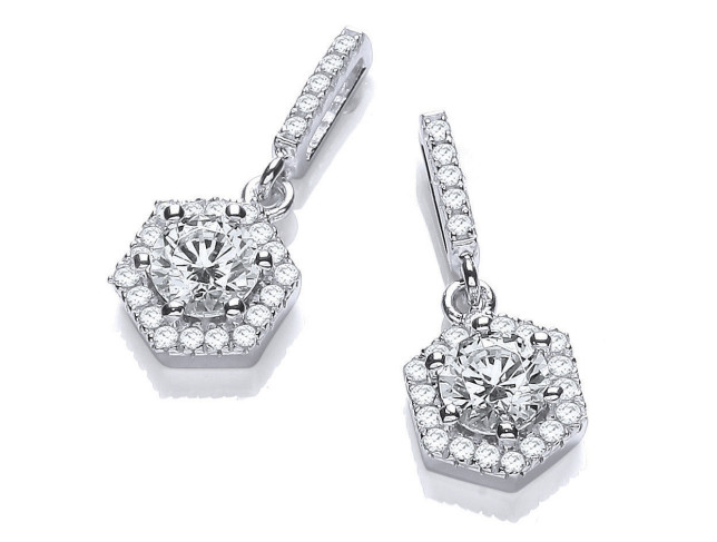 David Deyong DiamonDust Sterling Silver Drop Hexagon Style earrings