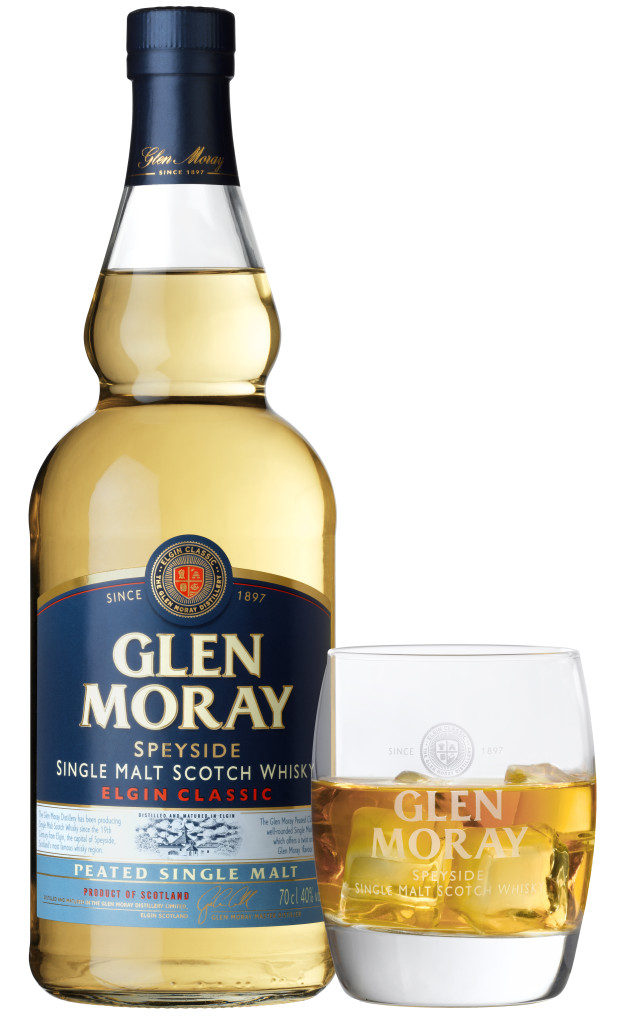Glen Moray Peated Bottle and Glass HD