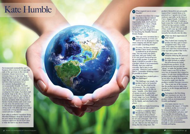 SLOAN Magazine October 2015 Kate Humble