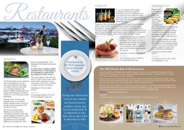 SLOAN Magazine October 2015 Restaurants 2