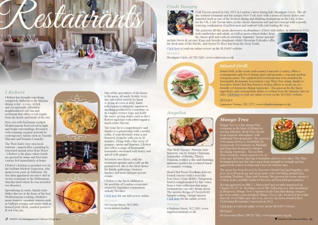 SLOAN Magazine October 2015 Restaurants 3