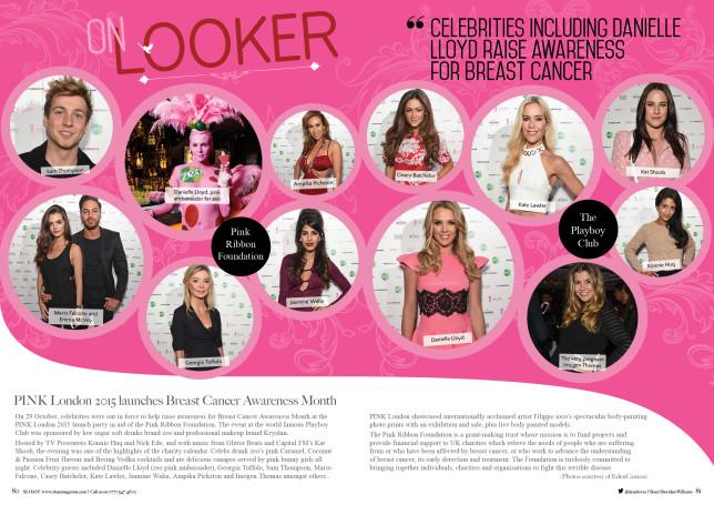 SLOAN Magazine October 2015 Onlooker Pink Ribbon Foundation