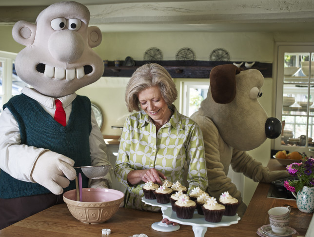 Wallace & Gromit helping Fiona get ready for BIG Bake 2015
