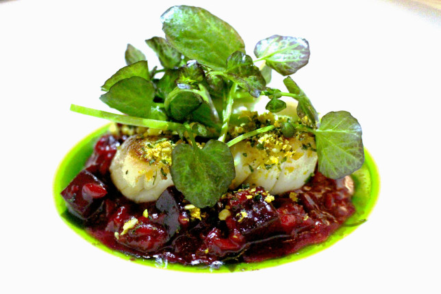 Kaspars Scallops with Beetroot Risotto