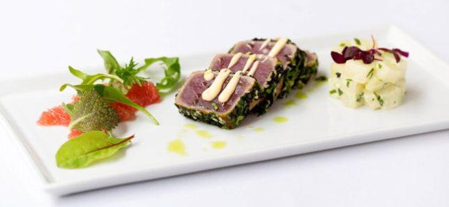 web Bistro Sesame crusted tuna, pink grapefruit salad and wasabi patato