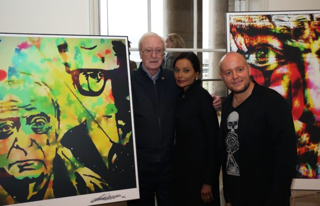Sir Michael Caine with wife Shakira and Lincoln Townley
