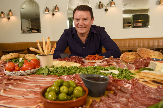 Theo Randall pictured as ASK Italian attempted the world record for the biggest antipasti 'Gigantipasti', to celebrate their autumn menu launch