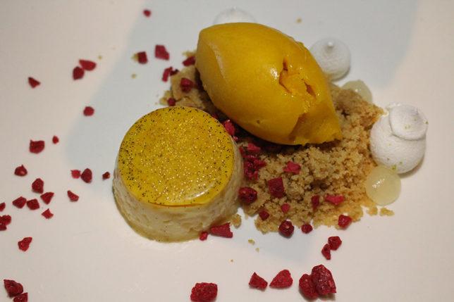 Vanilla crème brulée Mango sorbet, lime meringue, cookie crumb